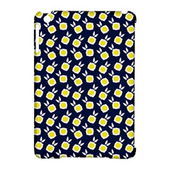 Square Flowers Navy Blue Apple Ipad Mini Hardshell Case (compatible With Smart Cover)