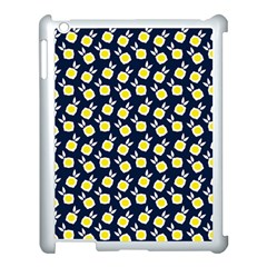 Square Flowers Navy Blue Apple Ipad 3/4 Case (white)
