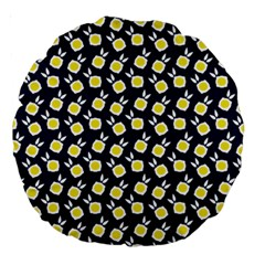 Square Flowers Navy Blue Large 18  Premium Round Cushions