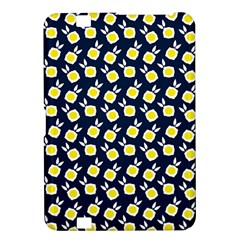 Square Flowers Navy Blue Kindle Fire Hd 8 9