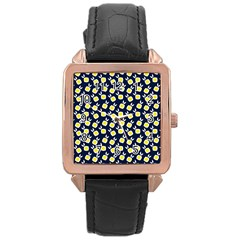 Square Flowers Navy Blue Rose Gold Leather Watch