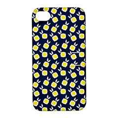 Square Flowers Navy Blue Apple Iphone 4/4s Hardshell Case With Stand