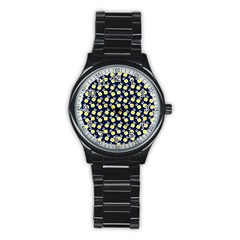 Square Flowers Navy Blue Stainless Steel Round Watch