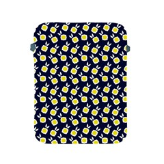 Square Flowers Navy Blue Apple Ipad 2/3/4 Protective Soft Cases