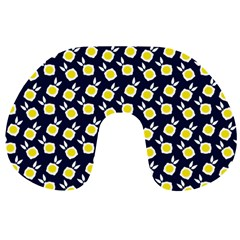 Square Flowers Navy Blue Travel Neck Pillows