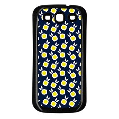 Square Flowers Navy Blue Samsung Galaxy S3 Back Case (black)