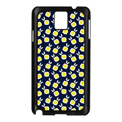 Square Flowers Navy Blue Samsung Galaxy Note 3 N9005 Case (black)