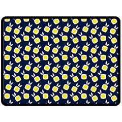 Square Flowers Navy Blue Double Sided Fleece Blanket (large)