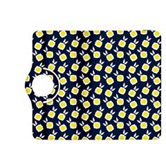 Square Flowers Navy Blue Kindle Fire Hdx 8 9  Flip 360 Case
