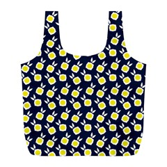 Square Flowers Navy Blue Full Print Recycle Bags (l)