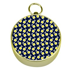 Square Flowers Navy Blue Gold Compasses