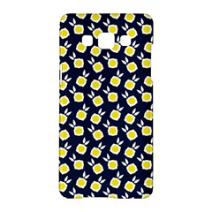Square Flowers Navy Blue Samsung Galaxy A5 Hardshell Case