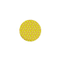 Square Flowers Yellow 1  Mini Buttons