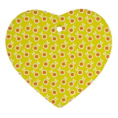 Square Flowers Yellow Ornament (heart)