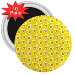 Square Flowers Yellow 3  Magnets (10 Pack)