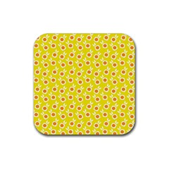 Square Flowers Yellow Rubber Coaster (square)