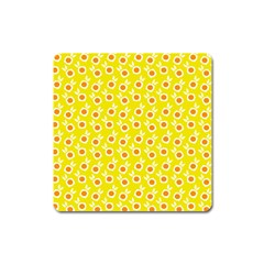 Square Flowers Yellow Square Magnet