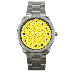 Square Flowers Yellow Sport Metal Watch