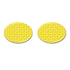 Square Flowers Yellow Cufflinks (oval)