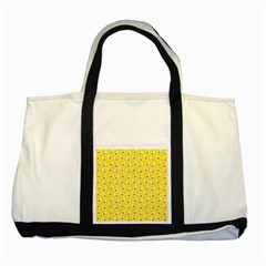 Square Flowers Yellow Two Tone Tote Bag