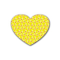Square Flowers Yellow Rubber Coaster (heart)