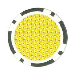 Square Flowers Yellow Poker Chip Card Guard
