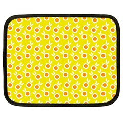 Square Flowers Yellow Netbook Case (large)