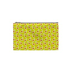 Square Flowers Yellow Cosmetic Bag (small)