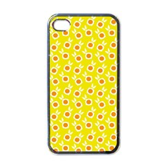 Square Flowers Yellow Apple Iphone 4 Case (black)