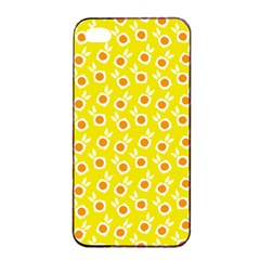 Square Flowers Yellow Apple Iphone 4/4s Seamless Case (black)