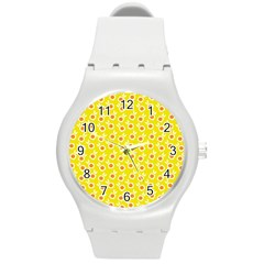 Square Flowers Yellow Round Plastic Sport Watch (m)