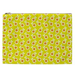 Square Flowers Yellow Cosmetic Bag (xxl)