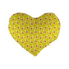 Square Flowers Yellow Standard 16  Premium Heart Shape Cushions