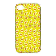 Square Flowers Yellow Apple Iphone 4/4s Hardshell Case With Stand