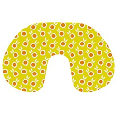 Square Flowers Yellow Travel Neck Pillows