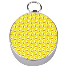 Square Flowers Yellow Silver Compasses