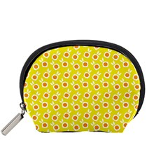Square Flowers Yellow Accessory Pouches (small)