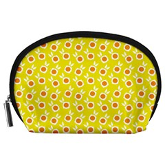 Square Flowers Yellow Accessory Pouches (large)