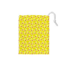Square Flowers Yellow Drawstring Pouches (small)