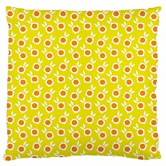 Square Flowers Yellow Large Flano Cushion Case (two Sides)