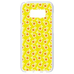 Square Flowers Yellow Samsung Galaxy S8 White Seamless Case