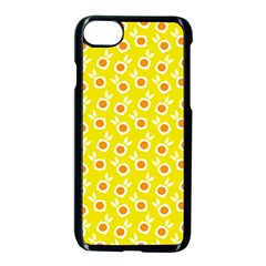 Square Flowers Yellow Apple Iphone 8 Seamless Case (black)