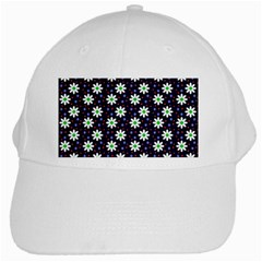 Daisy Dots Navy Blue White Cap