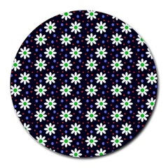 Daisy Dots Navy Blue Round Mousepads