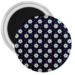 Daisy Dots Navy Blue 3  Magnets