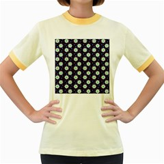 Daisy Dots Navy Blue Women s Fitted Ringer T Shirts