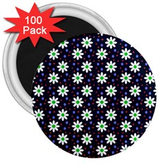 Daisy Dots Navy Blue 3  Magnets (100 Pack)