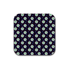 Daisy Dots Navy Blue Rubber Square Coaster (4 Pack)