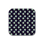 Daisy Dots Navy Blue Rubber Square Coaster (4 pack)  Front