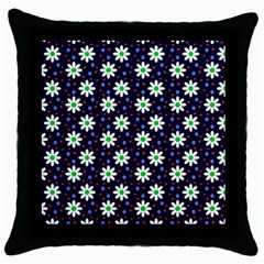 Daisy Dots Navy Blue Throw Pillow Case (black)